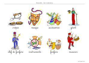 imagier carnaval couleur texte écriture cursive