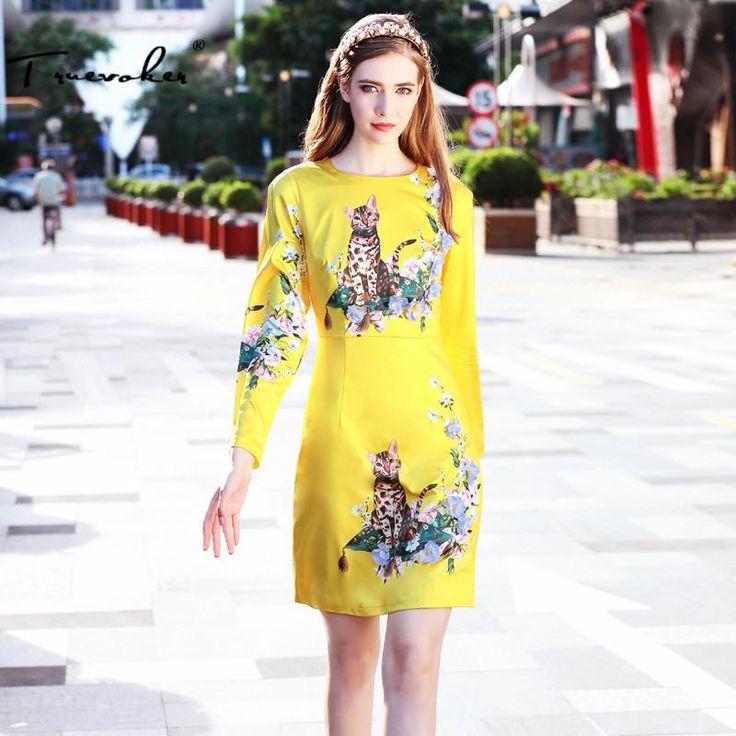 Truevoker Designer Autumn Dress Women's High Quality Long Sleeve Yellow Animal Printed Flower Appliques Pencil Vestidos