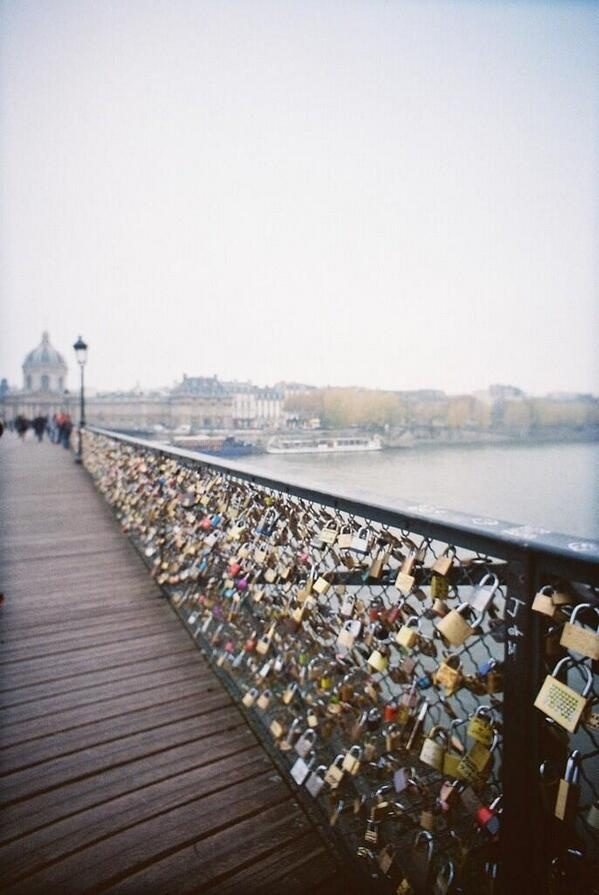 A bridge in Paris that couples attach a lock to and then throw the keys into the water