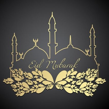 creative line art mosque with floral art element eid mubarak greeting card