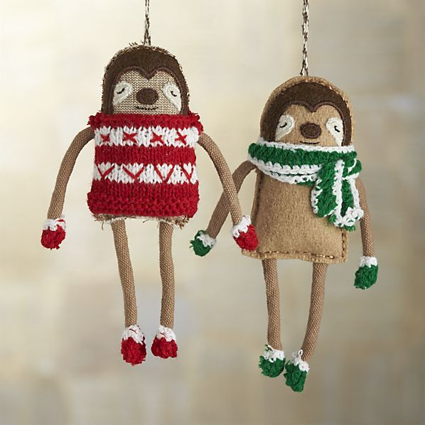 These winterized sloths drape long, lanky limbs, cozied up in a hand-knit sweater and matching mittens. Nothing says the holiday like a sloth in a sweater! Defining her style as folk pop, Canadian designer Sabina Gibson is a master of soft sculpture. Her charming plush ornaments are stitched by hand into colorful and delightful characters inspired by holiday folktales and long Montreal winters.