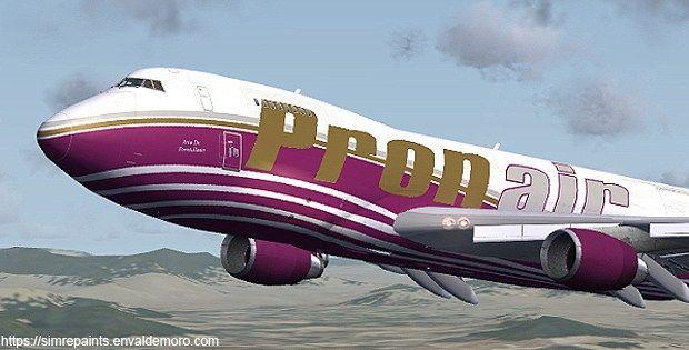 PRONAIR B747-245F  Texturas para FSX (archivos DDS)  Pronair (nombre comercial de Pronair Airlines S.L.) fue una aerolínea chárter española con sede en Albacete. Dejó de operar en el año 2009. Tan sólo disponía de este Pronair B747-245F y 2 McDonnell Douglas MD-87. La crisis y la subida del precio del combustible la arrastró al mismo destino que otras quince compañías aéreas españolas.