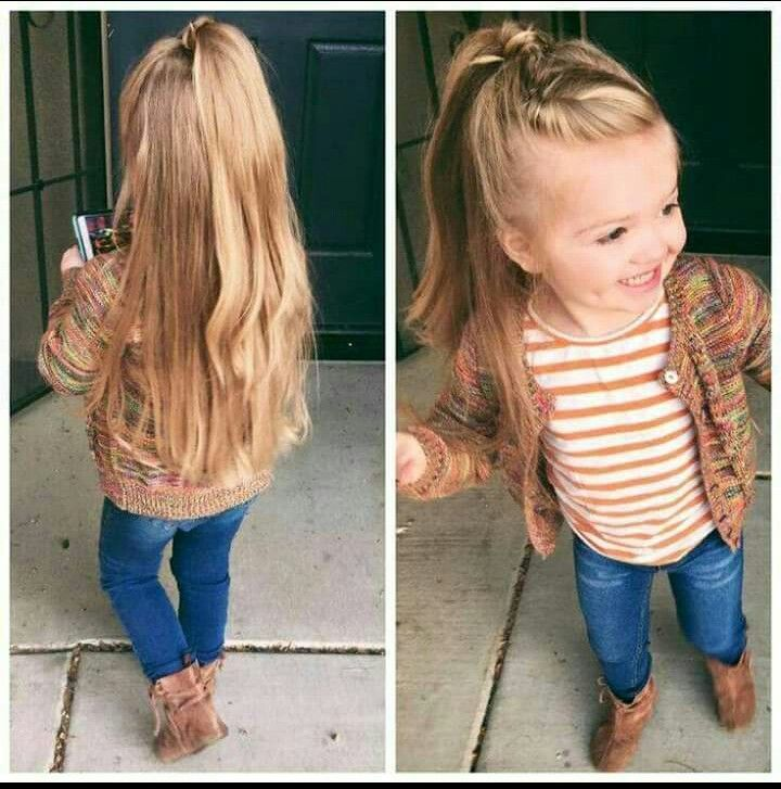 Partial front twist into a wrapped half up half down pony....idk who to credit for this cute style