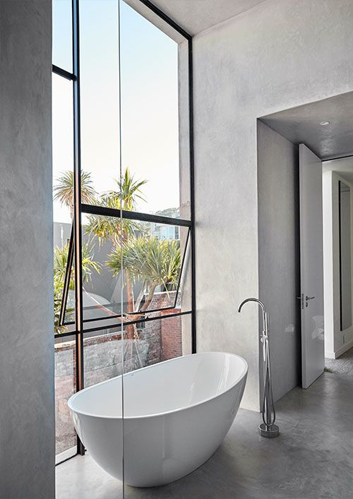 Brick and concrete house by Beattyvermeiren architects, South Africa, bathroom detail