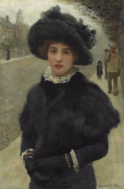 Ekaterin in her mourning year-late autumn in Vorbarr Sultana. (Sir George Clausen (1852-1944) A Morning Walk)