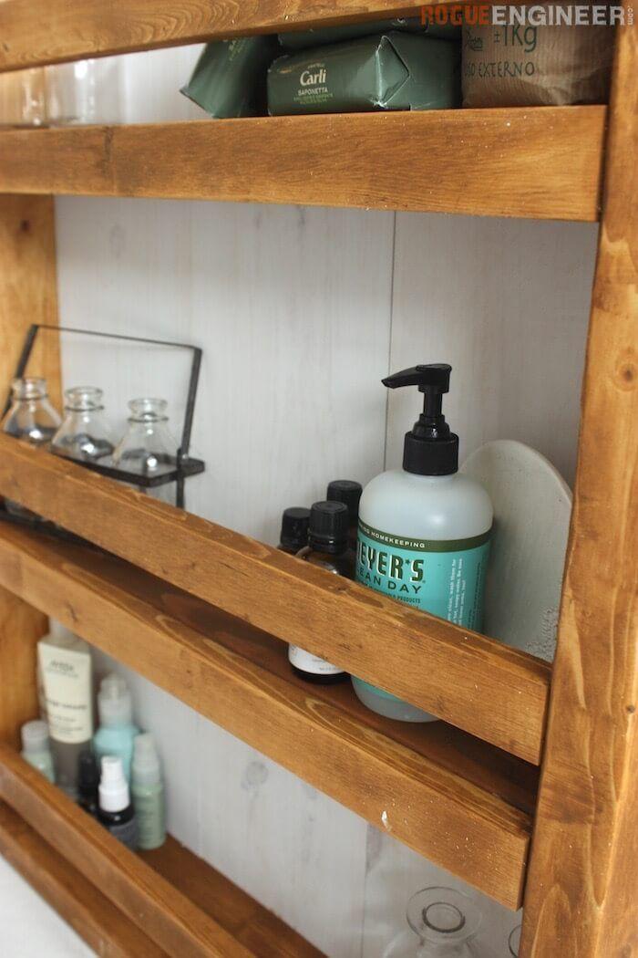 Apothecary DIY Wall Shelf Plans - Free DIY Plans | rogueengineer.com #Wall_Shelf...