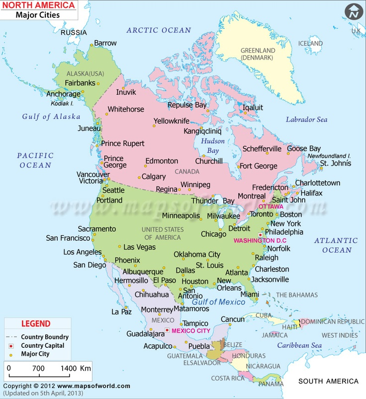 Map Of North America Major Cities America Map