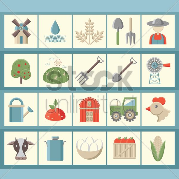 agriculture icons vector graphic