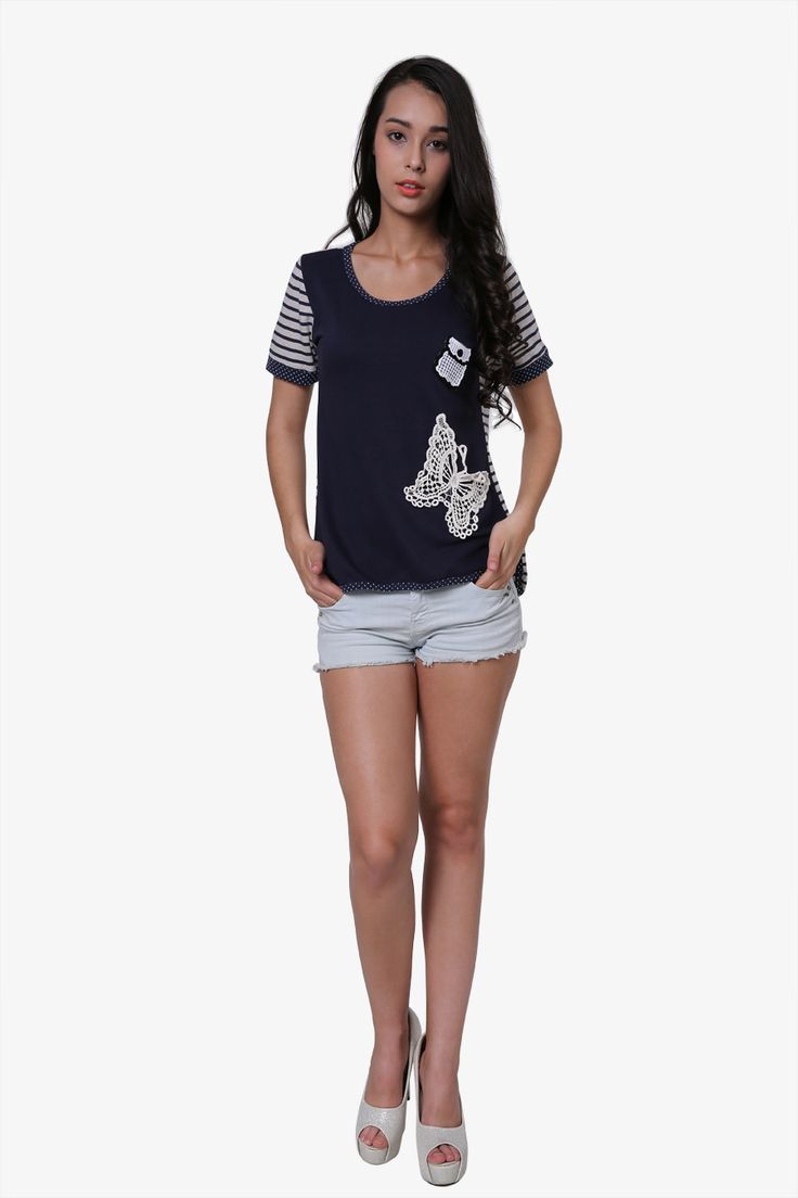 Vintage Butterfly Navy Blue T-shirt