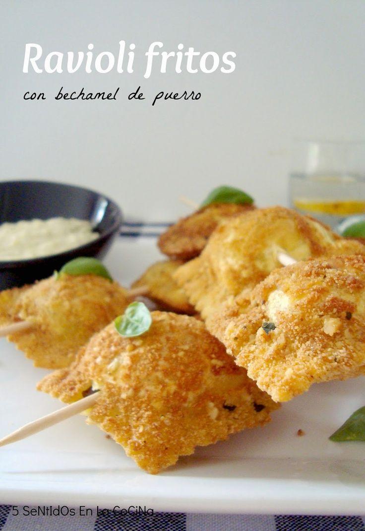5 Sentidos en la cocina: Ravioli fritos con crujiente de nueces y bechamel ligera de puerro