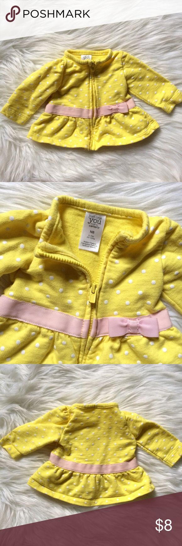 Carter's Yellow polka dot Peplum Zip Up Jacket NB Carter's Yellow polka dot Peplum Zip Up lightweight knit Jacket NB. In excellent pre-owned condition!  🙈Bundle your likes to receive a special discount! 🙉Bundle with @designhive (women's) 🙊Offers Welcome! Check out my Summer Clearance Sale--50% off 4+ Summer bundles! Carter's Jackets & Coats