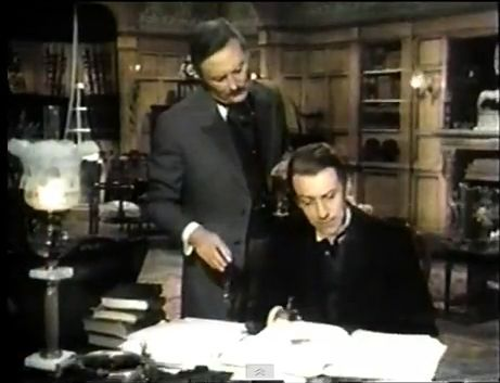 Donald Pickering as Doctor Watson and Geoffrey Whitehead as Sherlock Holmes
