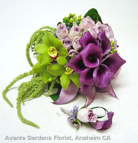 Purple Callas With Green Orchids And Lavender Roses By Avante Garden Florist In Anaheim