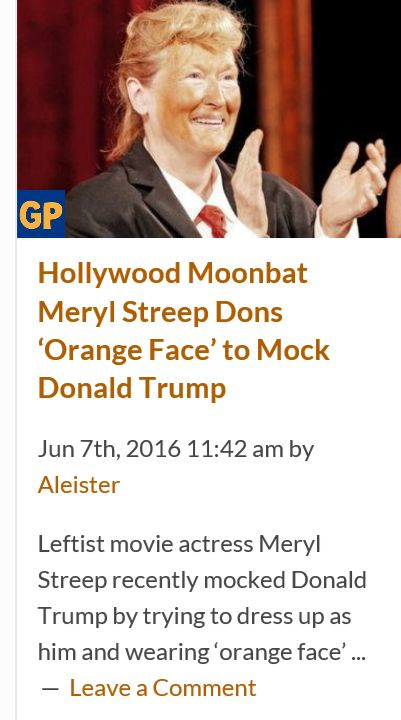 Remember everyone...this is the same type of person who tells you not to judge someone based on the color of their skin http://www.thegatewaypundit.com/2016/06/hollywood-moonbat-meryl-streep-dons-orange-face-mock-donald-trump/