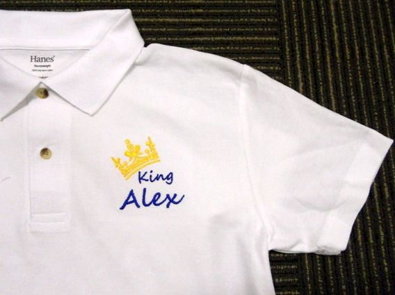 The shirt belong to King Alex! Personalised Polo Shirt embroidery by ThatCornerShop. #personalisedgifts #birthdaygifts #giftsforhim #giftsforher #giftideas #embroidery