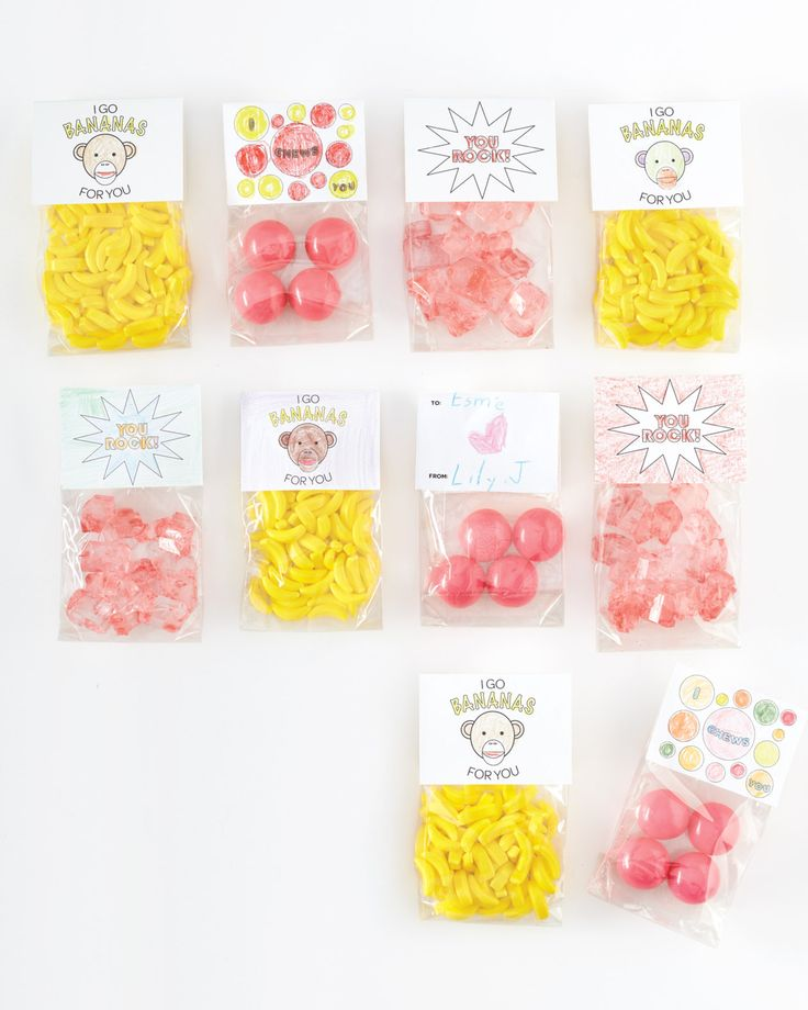 "For Valentine's Day cards or party favors, have your little sweethearts stuff small cellophane bags with treats that match a clip art message -- rock candy for ""You Rock,"" banana Runts for ""I Go Bananas for You,"" or gumballs for ""I Chews You.""Resources: Martha Stewart Home Office with Avery Stack+Fit Shagreen boxes, X Bands, and ElastiNote Tags available at Staples.com."