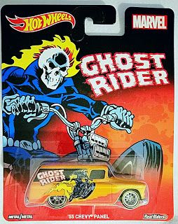 http://hot-wheels-die-cast-collection.blogspot.com/2016/09/hot-wheels-ghost-rider-55-chevy-panel.html  Hot Wheels Ghost Rider '55 Chevy Panel Marvel Comics with Real Riders (2015)  #hotwheels #diecast #diecastcollector #diecastphotos #diecastdealer #chevypanel #realriders