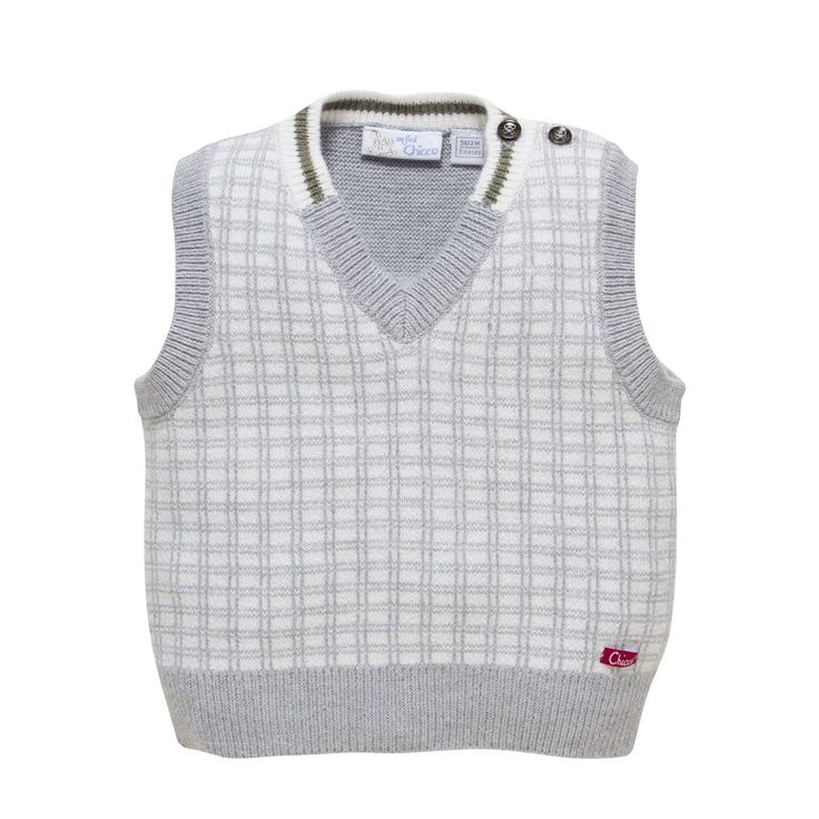 This piece from the Travel the World collection has a sophisticated look to it with fine gray lines checkered across the front. The buttons on the top right shoulder make getting Baby's head in and out of this sweater vest easy.