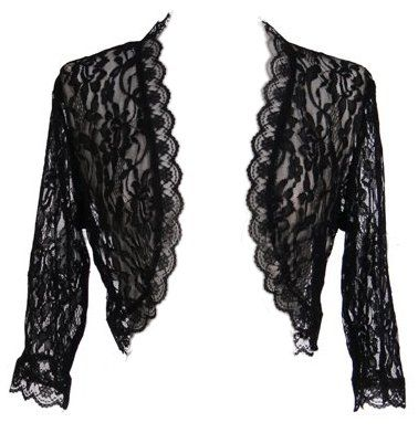 3/4 Length Sleeve Black Lace Bolero Jacket Bridal Lace Shrug Wedding
