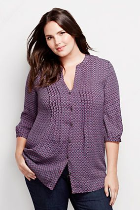 Women 39 s plus size 3 4 sleeve splitneck tucked tunic from for Tucked in shirt plus size