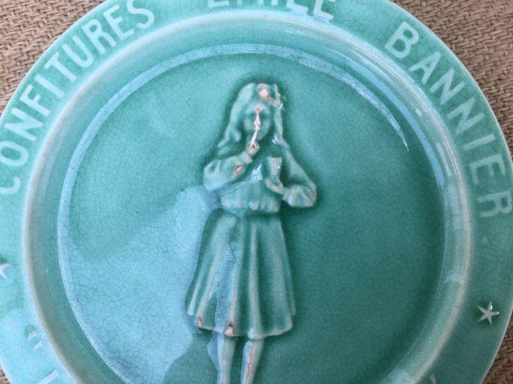 """French vintage Advertising plate Émile BANNIER's Jam, creation by Georges DREYFUS, 19th Earthenware marked """" GD Paris"""" Collectible Plate de la boutique VintagedeFrance sur Etsy"""