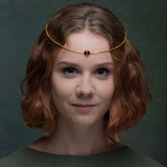 Gold-tone/Brass Medieval CIRCLET with a Cabochon RED SWAROVSZKI Stone in a BRASS Setting  Fully adjustable Gold-tone Chain with Parrot Clasp, or Black Satin Ribbon.  Ideal for a wedding, party or costume. Find me on Facebook  :)