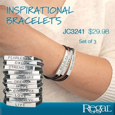 """INSPIRATIONAL BRACELETS (SET OF 3)  Leather bracelets with silver-tone metal are stamped with motivational words that will inspire you to believe in yourself! A trio of bracelets will be selected for you to excite your soul. Double ring adjustable closure. 8""""L"""