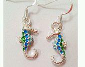 seahorse earrings, sea blue seahorse earrings, sea green seahorse earrings, sea horse earrings, silver seahorse earrings, beach jewelry