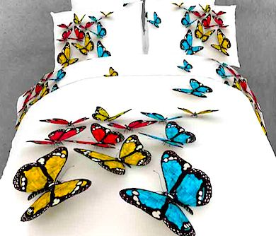 The 3-D butterfly bed set is available in the standard twin, full, and queen sizes, and it can also be purchased in California king and extra long twin for.