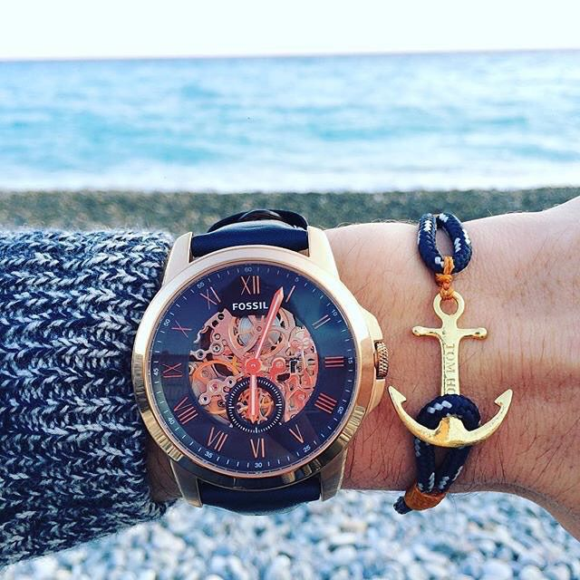 Fossil blue watch. Tom Hope bracelet. French riviera