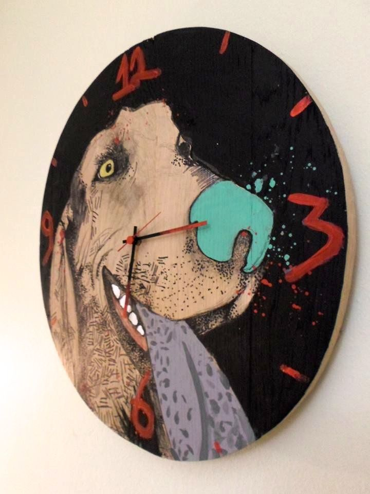 up cycled illustrated dog clock http://littlerocksdesigns.com