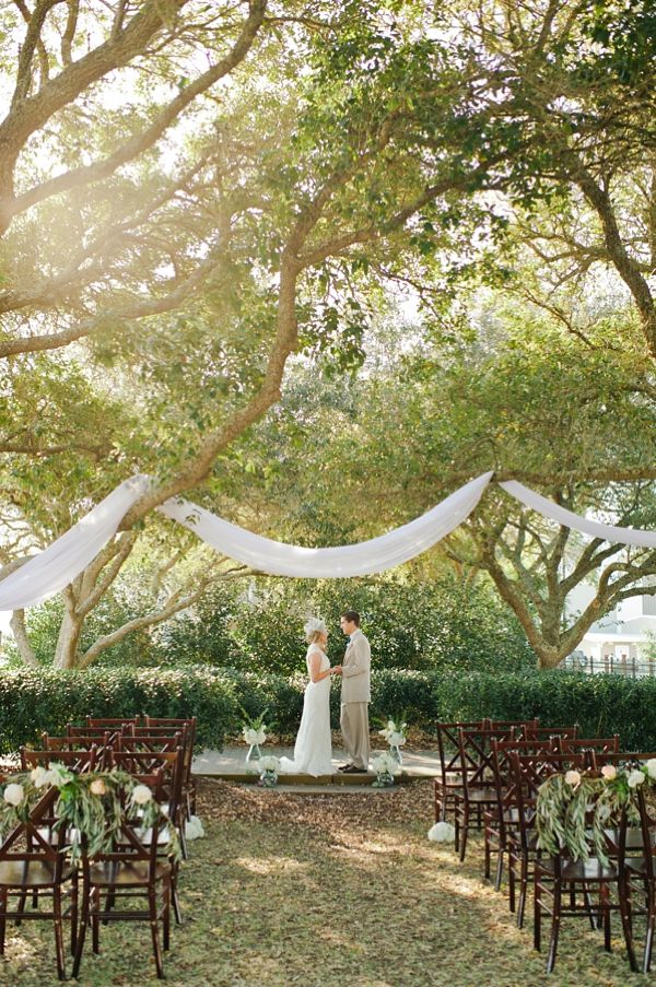 southern wedding - romantic ceremony set-up