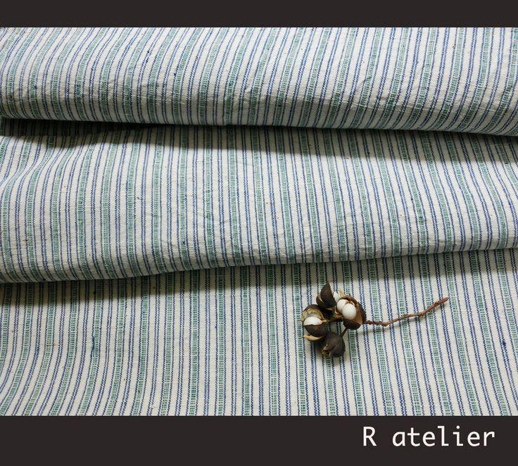 $15/yard | Vintage Chinese Fabric | Handwoven Cotton | Fabric By The Yard | Green Stripe 007 #vintagefabrics #handwoven #asianfabric #cottonfabric #crafts #fabriccrafts #craftsupply #craftsupplies