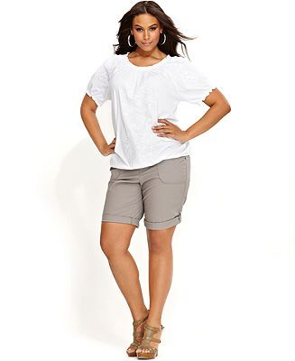 INC International Concepts Plus Size Embroidered Smocked Top & Cargo Shorts - INC International Concepts - Plus Sizes - Macy's