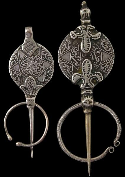 Two Silver Fibulae (Cloak Clasps) Draa Vallery, Central Morocco 19th century (one dated 1299 AH or 1882 AD)