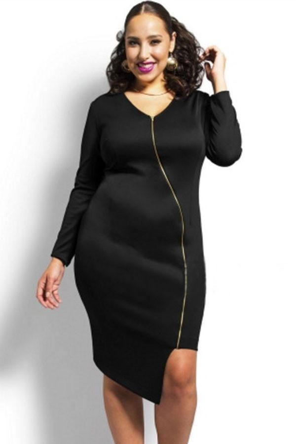 Long Sleeve Plus Size Dress