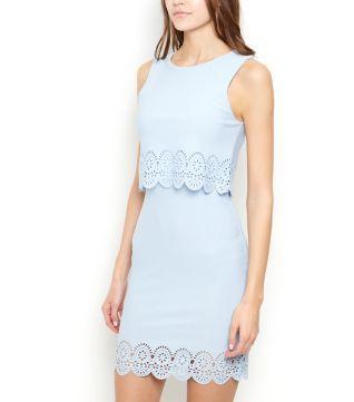 Pale Blue Laser Cut Double Layer Bodycon Dress