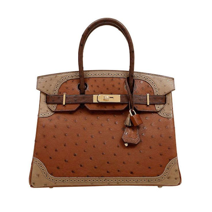 Hermes Limited Edition Tri Color Ostrich Ghillies Birkin Bag ...