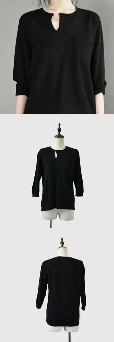 Black knitting sweater women clothes shirt