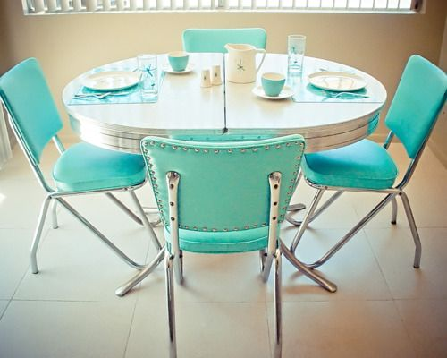 Turquoise vintage kitchen dinette set chairs