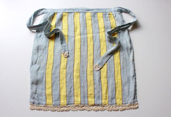 Swedish Vintage Linen Apron, Handmade Half Apron, Pale Blue Yellow with Crochet Lace, Retro Clothing, Gift for Her, Scandinavian Apron by LittleRetronome