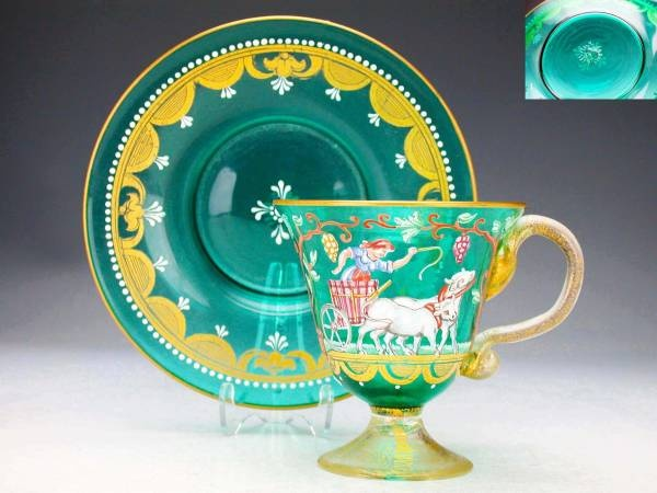 """Venetian Glass cup and saucer 1880 """"Repinned by Keva xo""""."""
