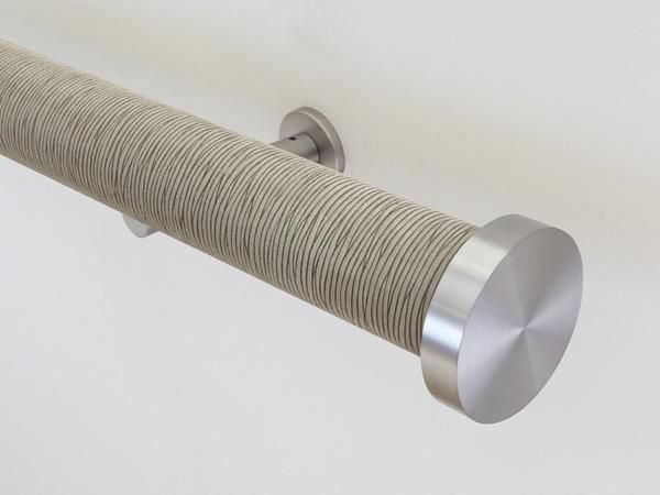 "wrapped & tracked curtain pole set in green strata ""shale"" by Walcot House"
