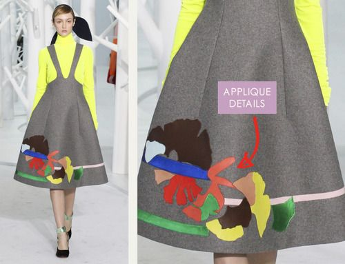 Pattern Cutting Details from Delpozo | The Cutting Class. Delpozo, AW15, New York, Image 6. Appliqué details.