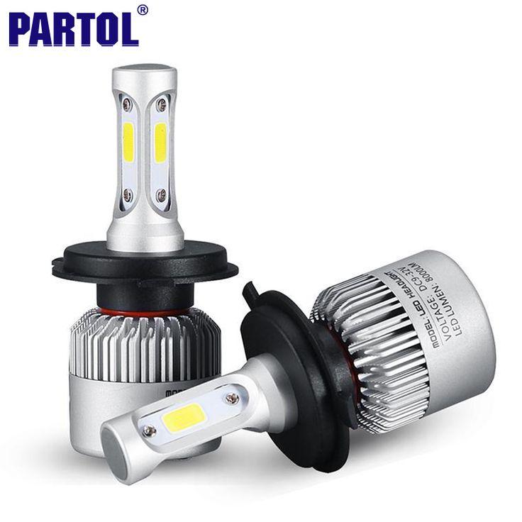 2x Plug & Play H4 COB LED Headlight 72 W 8000LM Haz Hi-lo Del Coche Bombilla LED Faros Antiniebla Head Light 12 V Accesorios de Auto Partes