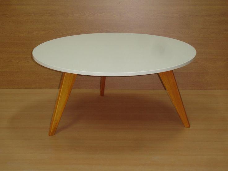 Mesa,ratona,retro,vintage,nordica,laca,blanca,redonda,madera - $ 1.850,00 en MercadoLibre