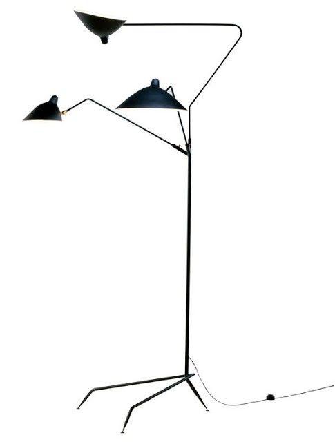 Floor Lamp Carbon Steel Replica Serge Mouille Three-arm Standing E27 go lights Australia