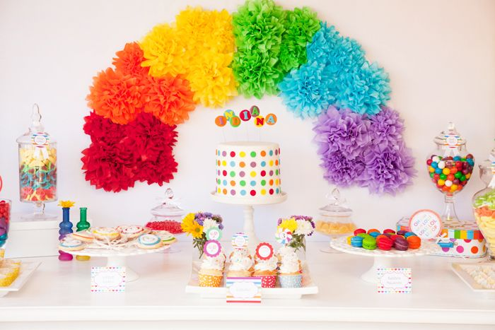 Un fondo precioso para la mesa de una fiesta arcoiris / A lovely backdrop for a sweet rainbow table