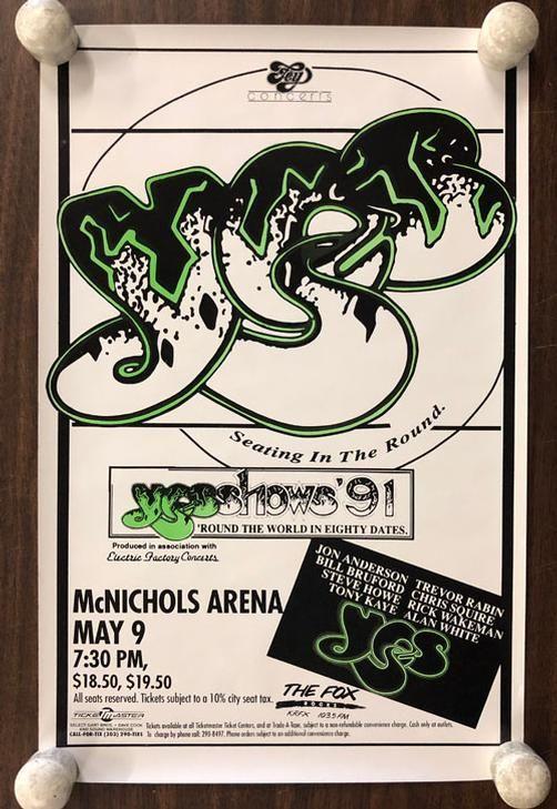 Original concert poster for Yes at McNichols Arena in Denver
