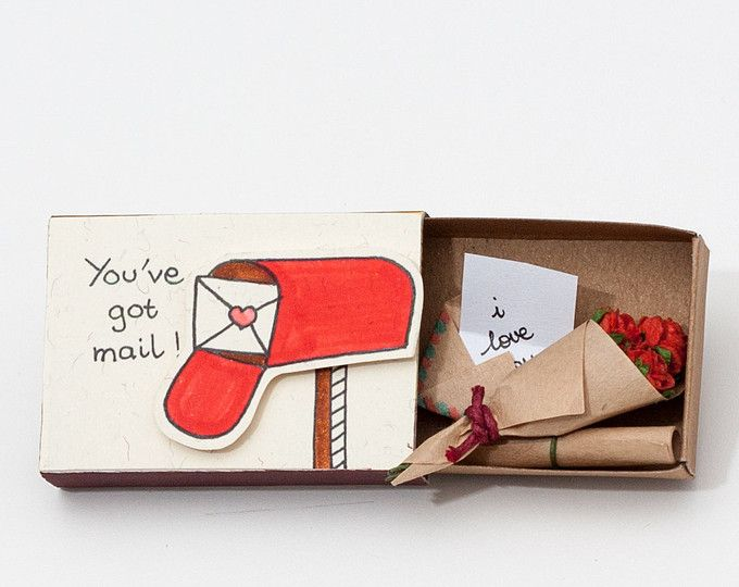 "Handmade Pop-up Card / Personalized Card / Custom Gift / Gift for Her / ""I Love You"" Matchbox / ""You Have Mail"" / LV021"